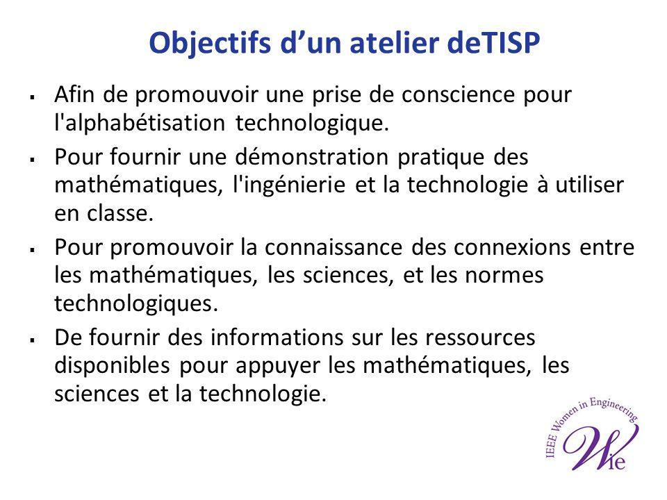 Objectifs dun atelier deTISP Afin de promouvoir une prise de conscience pour l alphabétisation technologique.