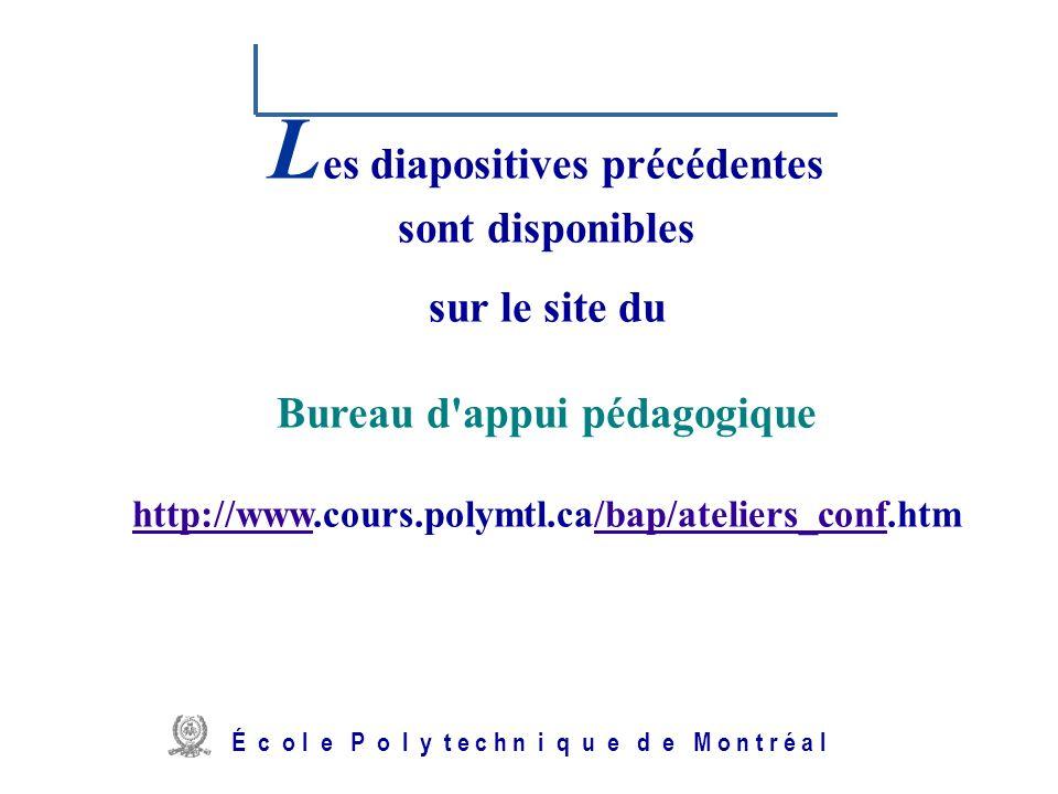 /atelier charge cours/plan de cours 47 L es diapositives précédentes sont disponibles sur le site du Bureau d'appui pédagogique http://www.cours.polym