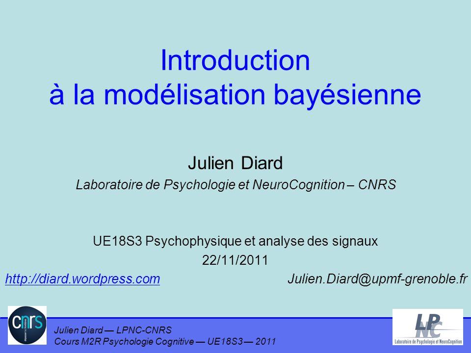 Julien Diard LPNC-CNRS Cours M2R Psychologie Cognitive UE18S3 2011 Exemple A = {il pleut, il ne pleut pas} B = {Jean a son parapluie, Jean na pas son parapluie} P(B A) = P(A) P(B   A) P(A) –P(A=il pleut) = 0,4 –P(A=il ne pleut pas) = 1 - 0,4 = 0,6 P(A   B) –Quizz : quel objet mathématique .