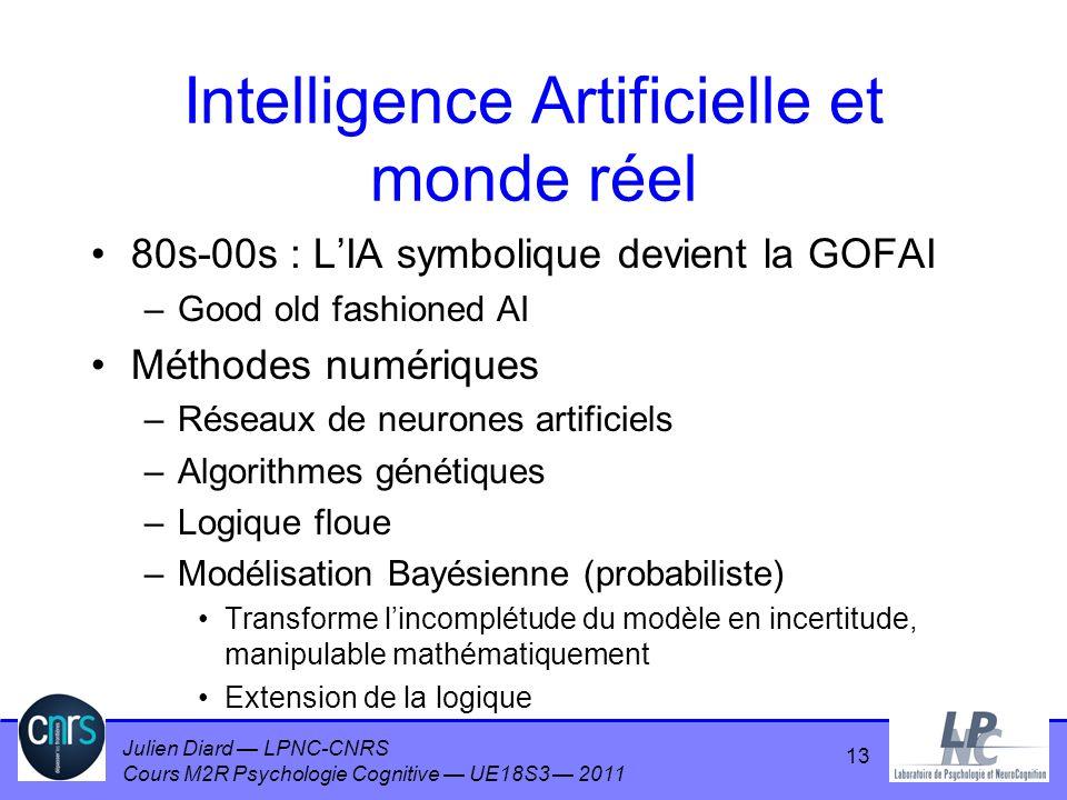 Julien Diard LPNC-CNRS Cours M2R Psychologie Cognitive UE18S3 2011 13 Intelligence Artificielle et monde réel 80s-00s : LIA symbolique devient la GOFA