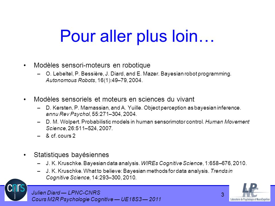 Julien Diard LPNC-CNRS Cours M2R Psychologie Cognitive UE18S3 2011 14 Modèles de raisonnement humain Raisonnement déductif (logique) –modus ponens A implique B, A est vrai : B est vrai –modus tollens A implique B, B est faux : A est faux Raisonnement plausible –Sil pleut, alors Jean a son parapluie –Jean a son parapluie –Il pleut, vraisemblablement