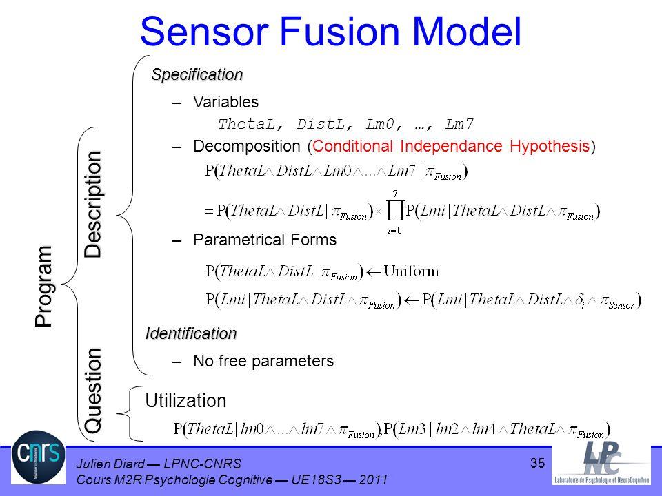 Julien Diard LPNC-CNRS Cours M2R Psychologie Cognitive UE18S3 2011 35 Sensor Fusion Model –No free parameters Utilization Description Question Program