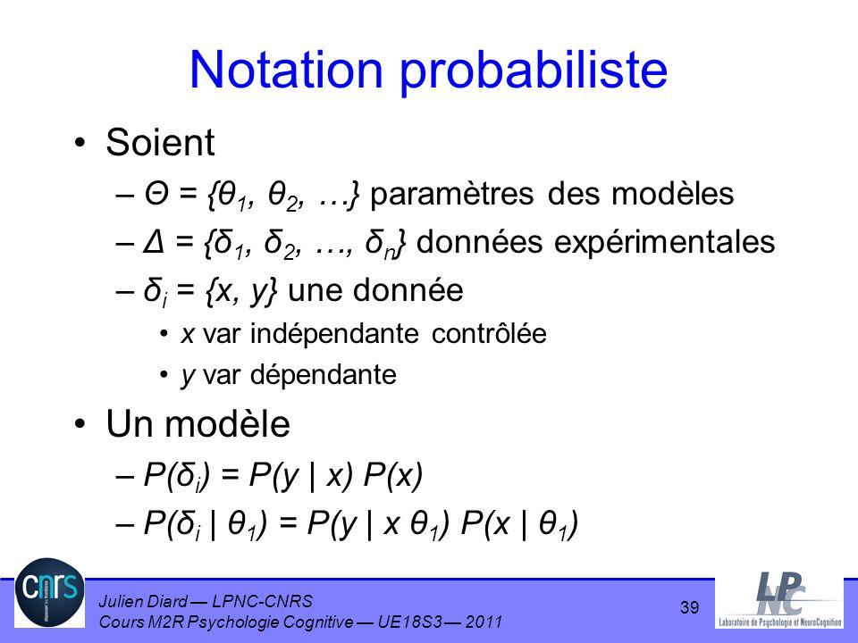 Julien Diard LPNC-CNRS Cours M2R Psychologie Cognitive UE18S3 2011 Notation probabiliste Soient –Θ = {θ 1, θ 2, …} paramètres des modèles –Δ = {δ 1, δ