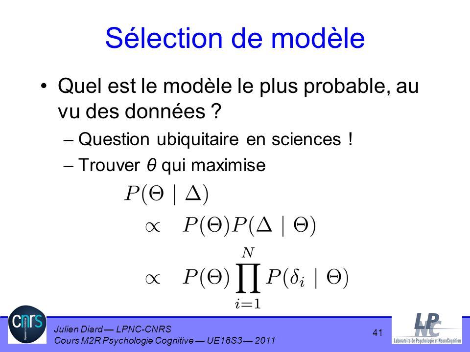 Julien Diard LPNC-CNRS Cours M2R Psychologie Cognitive UE18S3 2011 Sélection de modèle Quel est le modèle le plus probable, au vu des données ? –Quest
