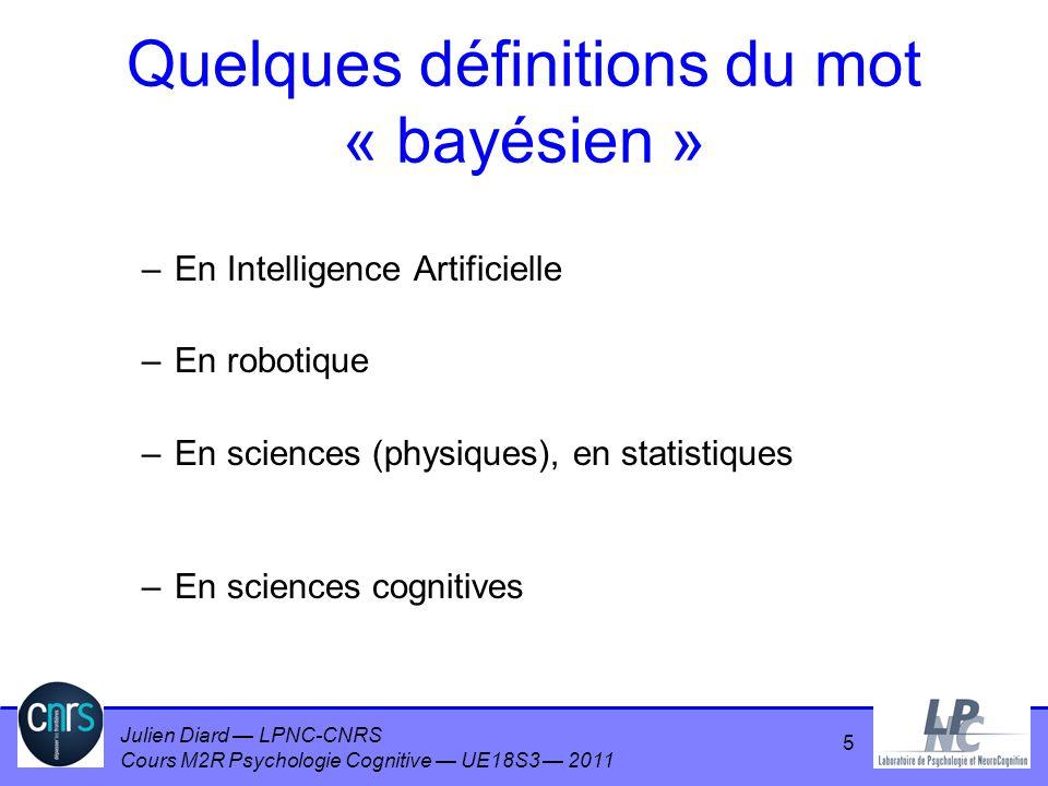 Julien Diard LPNC-CNRS Cours M2R Psychologie Cognitive UE18S3 2011 16 Soient A, B, C, des propositions logiques Règle du produit Règle de la somme (de normalisation) Règles de calcul