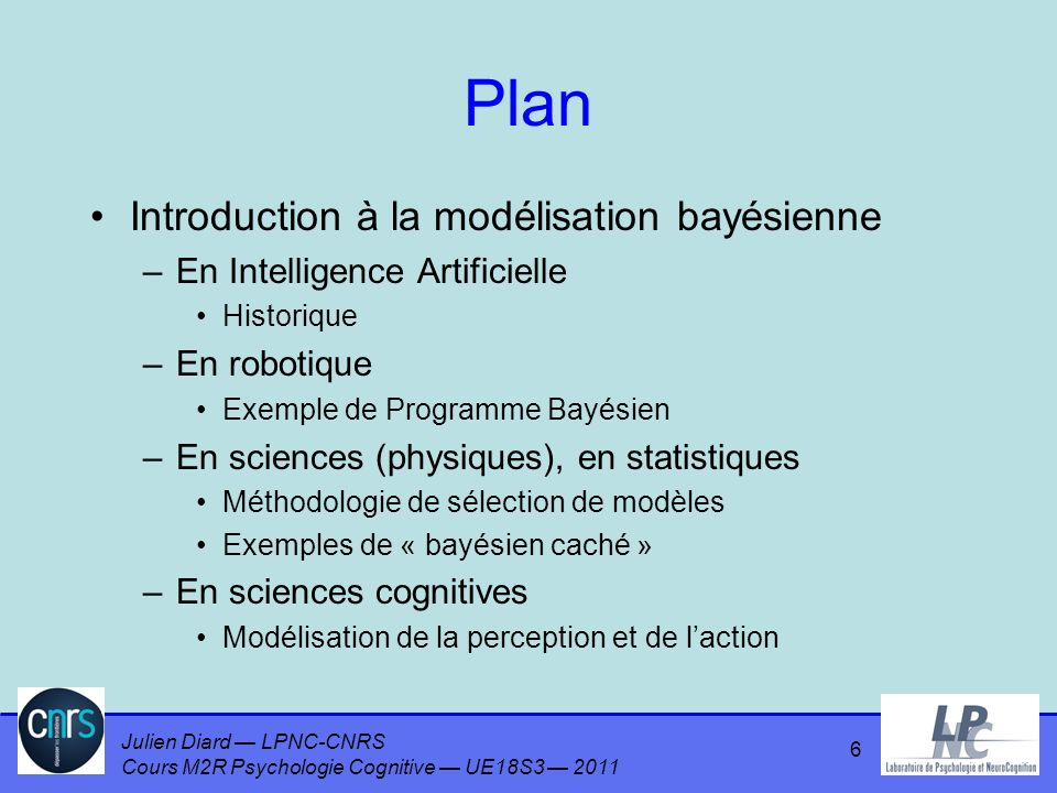 Julien Diard LPNC-CNRS Cours M2R Psychologie Cognitive UE18S3 2011 Plan Introduction à la modélisation bayésienne –En Intelligence Artificielle Historique –En robotique Exemple de Programme Bayésien –En sciences (physiques), en statistiques Méthodologie de sélection de modèles Exemples de « bayésien caché » –En sciences cognitives Modélisation de la perception et de laction 6