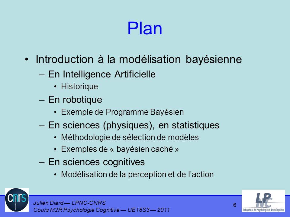 Julien Diard LPNC-CNRS Cours M2R Psychologie Cognitive UE18S3 2011 Plan Introduction à la modélisation bayésienne –En Intelligence Artificielle Historique –En robotique Exemple de Programme Bayésien –En sciences (physiques) Méthodologie de sélection de modèles Exemples de « bayésien caché » –En sciences cognitives Modélisation de la perception et de laction 7