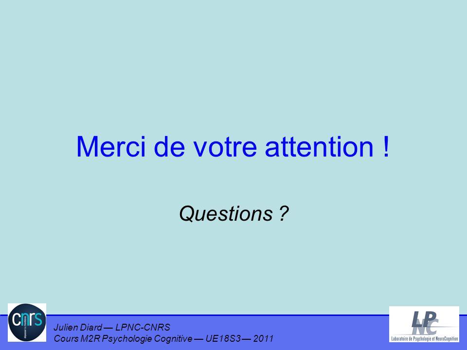 Julien Diard LPNC-CNRS Cours M2R Psychologie Cognitive UE18S3 2011 Merci de votre attention ! Questions ?
