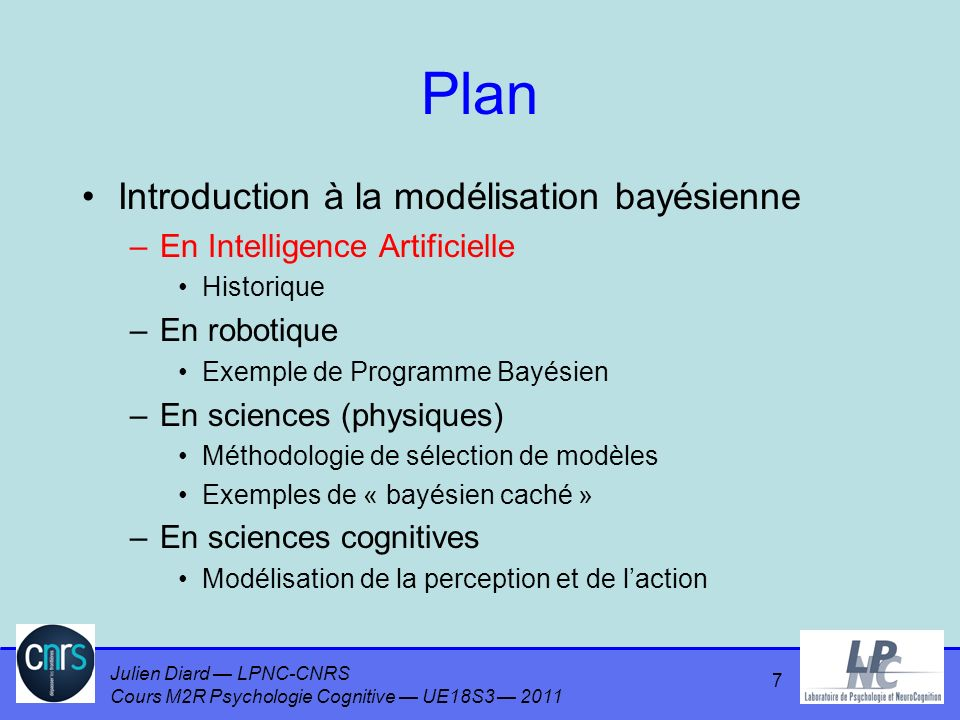 Julien Diard LPNC-CNRS Cours M2R Psychologie Cognitive UE18S3 2011 Plan Introduction à la modélisation bayésienne –En Intelligence Artificielle Historique –En robotique Exemple de Programme Bayésien –En sciences (physiques) Méthodologie de sélection de modèles Exemples de « bayésien caché » –En sciences cognitives Modélisation de la perception et de laction 7