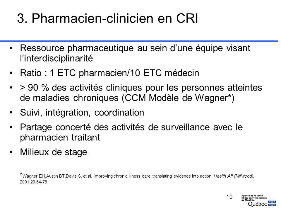 10 3. Pharmacien-clinicien en CRI Ressource pharmaceutique au sein dune équipe visant linterdisciplinarité Ratio : 1 ETC pharmacien/10 ETC médecin > 9