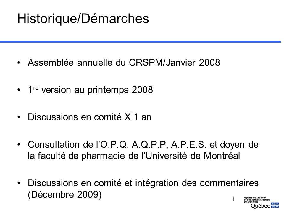 1 Historique/Démarches Assemblée annuelle du CRSPM/Janvier 2008 1 re version au printemps 2008 Discussions en comité X 1 an Consultation de lO.P.Q, A.