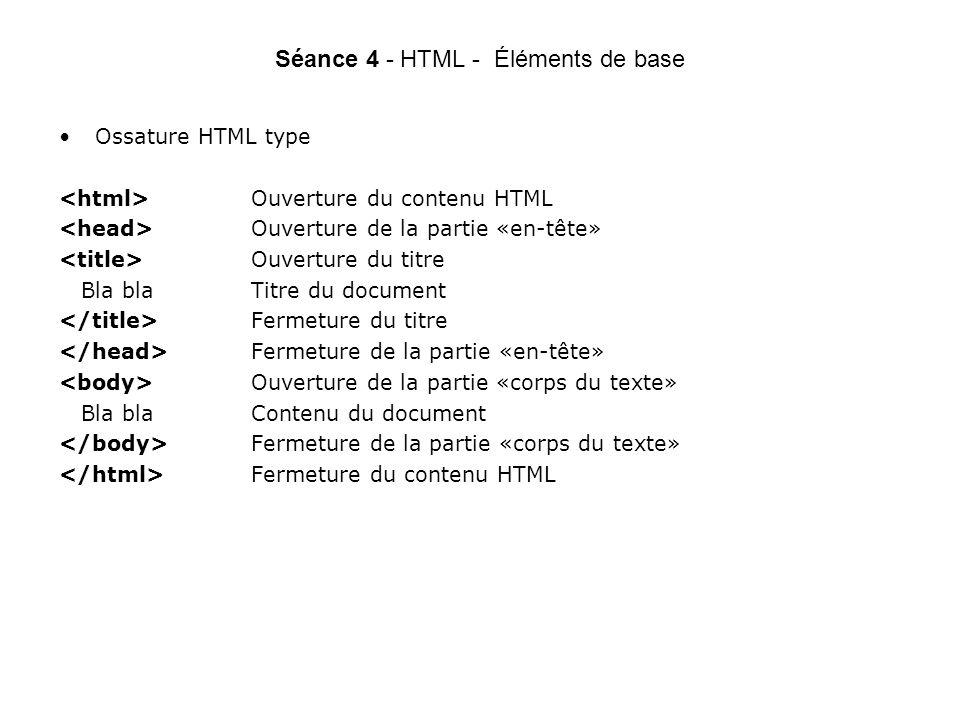 Séance 4 - HTML - Éléments de base Ossature HTML type Ouverture du contenu HTML Ouverture de la partie «en-tête» Ouverture du titre Bla blaTitre du document Fermeture du titre Fermeture de la partie «en-tête» Ouverture de la partie «corps du texte» Bla blaContenu du document Fermeture de la partie «corps du texte» Fermeture du contenu HTML