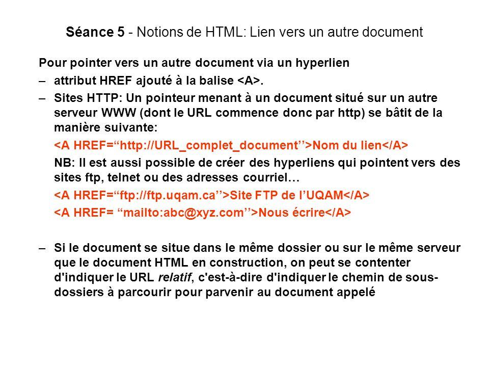 Séance 5 - Notions de HTML: Lien vers un autre document Pour pointer vers un autre document via un hyperlien –attribut HREF ajouté à la balise.