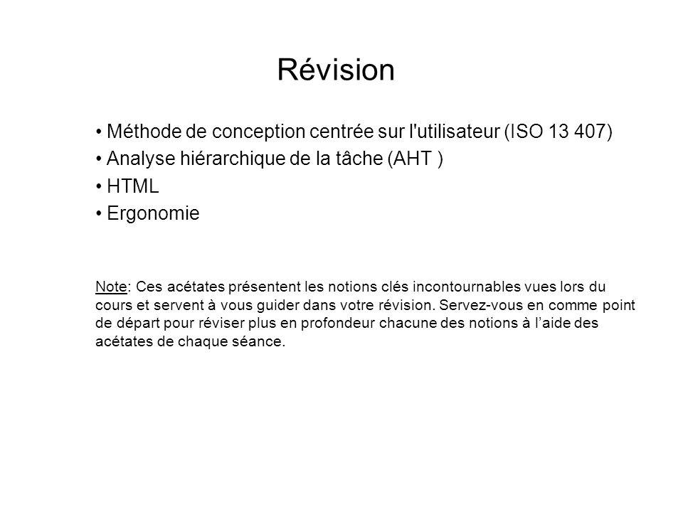 Révision Méthode de conception centrée sur l utilisateur (ISO 13 407) Analyse hiérarchique de la tâche (AHT ) HTML Ergonomie Note: Ces acétates présentent les notions clés incontournables vues lors du cours et servent à vous guider dans votre révision.