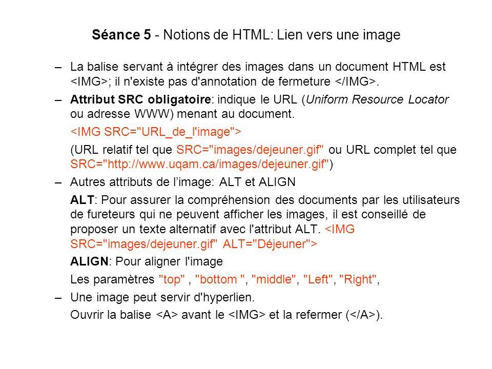 Séance 5 - Notions de HTML: Lien vers une image –La balise servant à intégrer des images dans un document HTML est ; il n existe pas d annotation de fermeture.