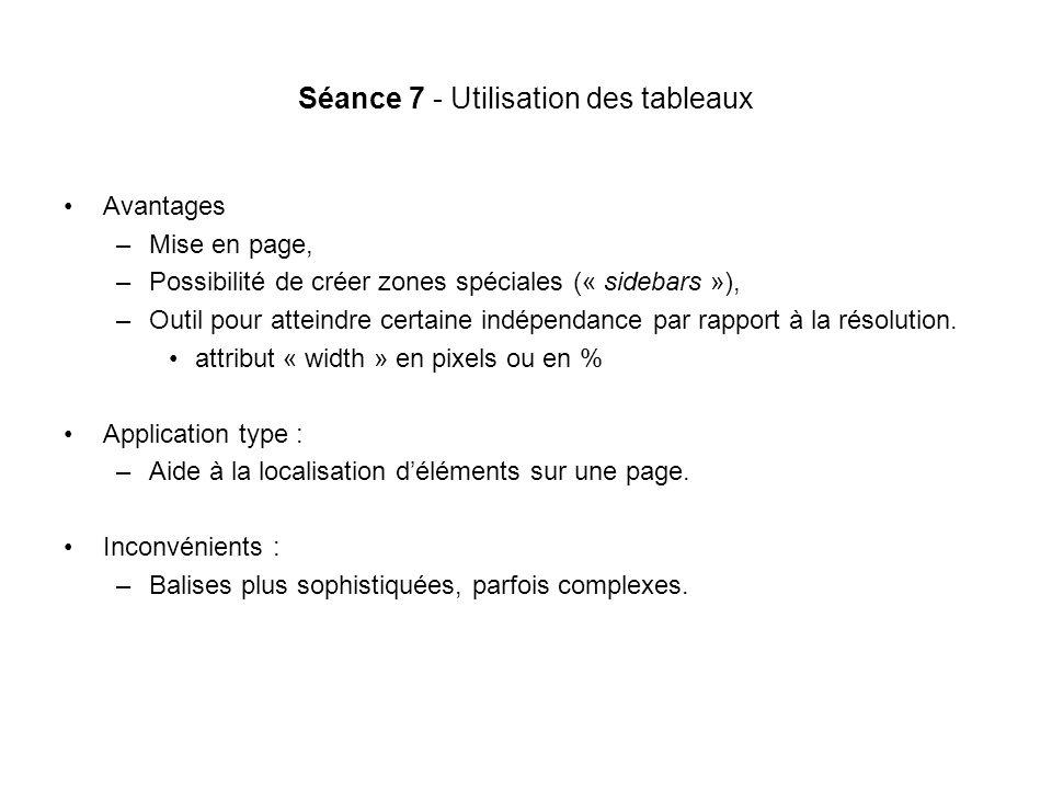 Séance 7 - Utilisation des tableaux Avantages –Mise en page, –Possibilité de créer zones spéciales (« sidebars »), –Outil pour atteindre certaine indépendance par rapport à la résolution.