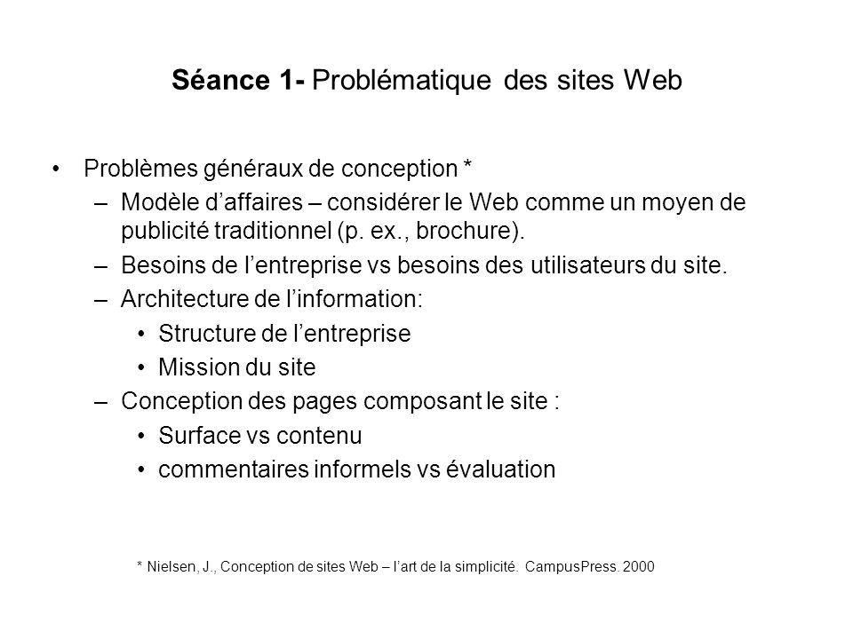 Séance 4 - HTML - Éléments de base HTML=langage = lingu franca du Web = format de fichier (format de fichier le plus répandu voir la source dune page) Hypertext Mark-up Language = langage de marquage pour structurer les textes (titres, paragraphes, listes, tableaux,…) Incorporer des graphiques et autres contenus multimédia par références intégrées dans le texte Interfaçage avec des langages ou scripts complémentaires ex: CSS, jsp, XML, CGI, … Hyperlien: référence dans le texte vers des parties précises (ancres) ou vers dautres textes Définition hypertexte: liaison contextuelle infinie www = world wide web = toile daraignée géante de connexions Navigateur: interprète le code HTML (lecture des balises ou commandes de marquage) et représente le texte brut sous forme visuelle pour être vue à lécran Structure hiérarchique: logique demboîtement (poupées russes, tupperwares) –Propriétés globales (titre de page, fond, …) –Propriétés locales ( titres de paragraphes, tableaux,…) –Propriétés micro (graphiques, mise en forme du texte comme le caractère gras ou italique)
