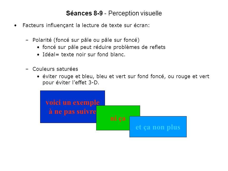 Séances 8-9 - Perception visuelle Facteurs influençant la lecture de texte sur écran: –Polarité (foncé sur pâle ou pâle sur foncé) foncé sur pâle peut réduire problèmes de reflets Idéal= texte noir sur fond blanc.