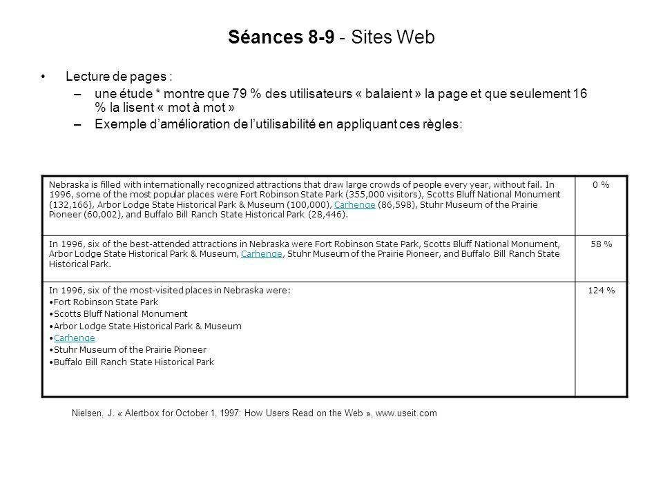 Séances 8-9 - Sites Web Lecture de pages : –une étude * montre que 79 % des utilisateurs « balaient » la page et que seulement 16 % la lisent « mot à mot » –Exemple damélioration de lutilisabilité en appliquant ces règles: Nielsen, J.