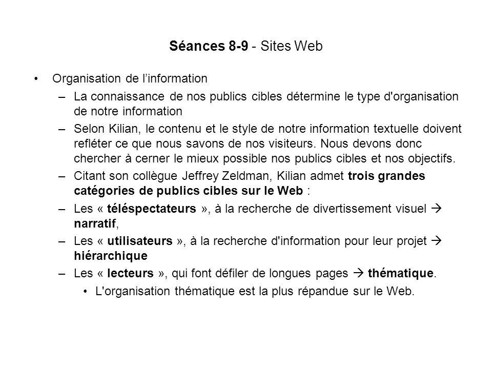 Séances 8-9 - Sites Web Organisation de linformation –La connaissance de nos publics cibles détermine le type d organisation de notre information –Selon Kilian, le contenu et le style de notre information textuelle doivent refléter ce que nous savons de nos visiteurs.