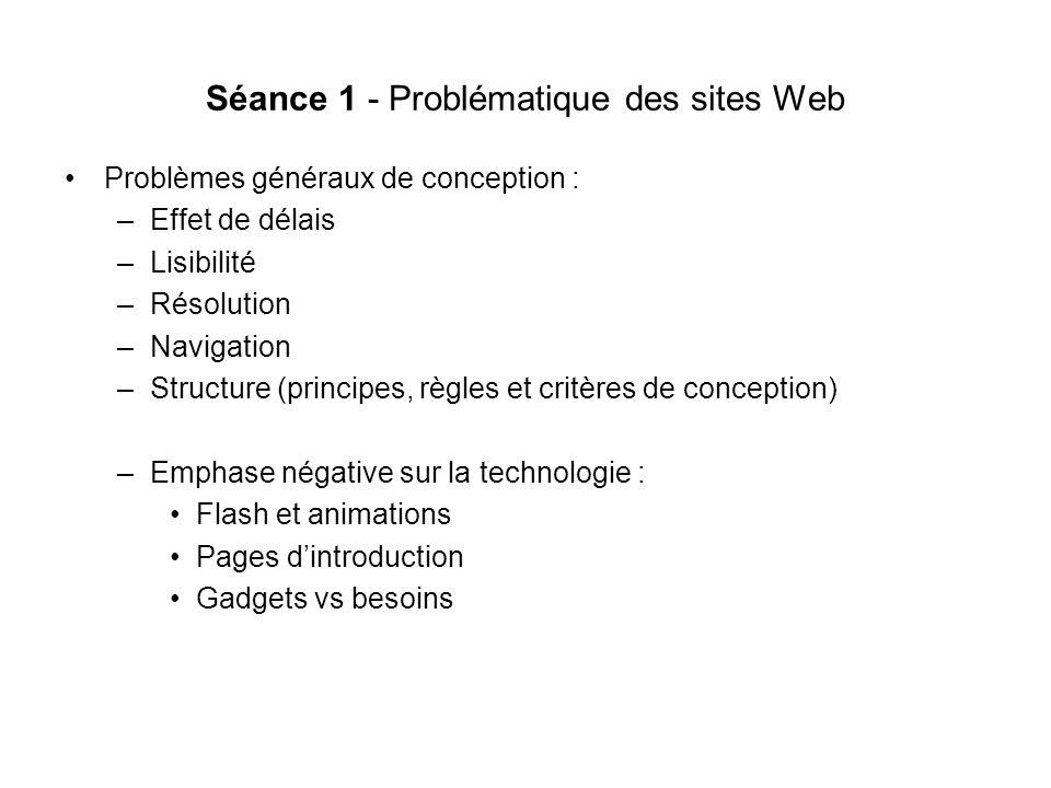 Séances 8-9 Structures de sites Web Problèmes fréquents : Structure trop large, page daccueil surchargée de liens souvent peu reliés entre eux.