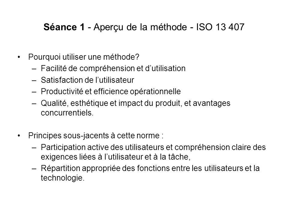 Séance 1 - Aperçu de la méthode - ISO 13 407 Pourquoi utiliser une méthode.