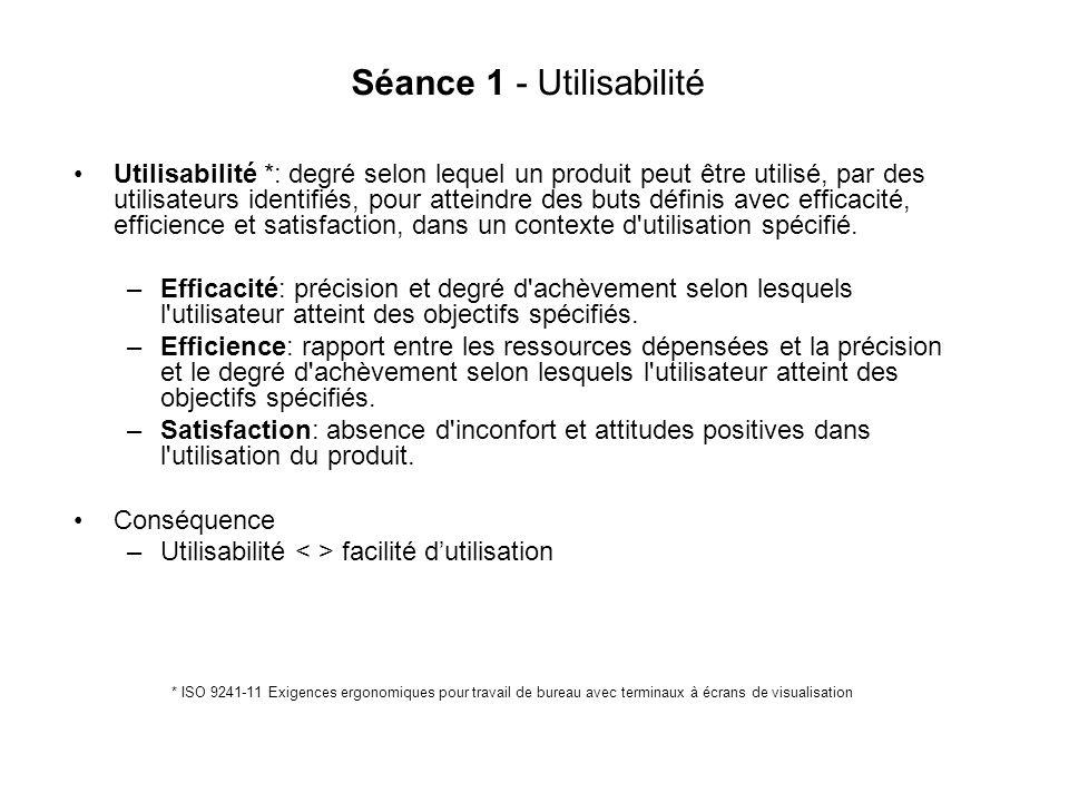 Séance 1 - Utilisabilité Utilisabilité *: degré selon lequel un produit peut être utilisé, par des utilisateurs identifiés, pour atteindre des buts définis avec efficacité, efficience et satisfaction, dans un contexte d utilisation spécifié.