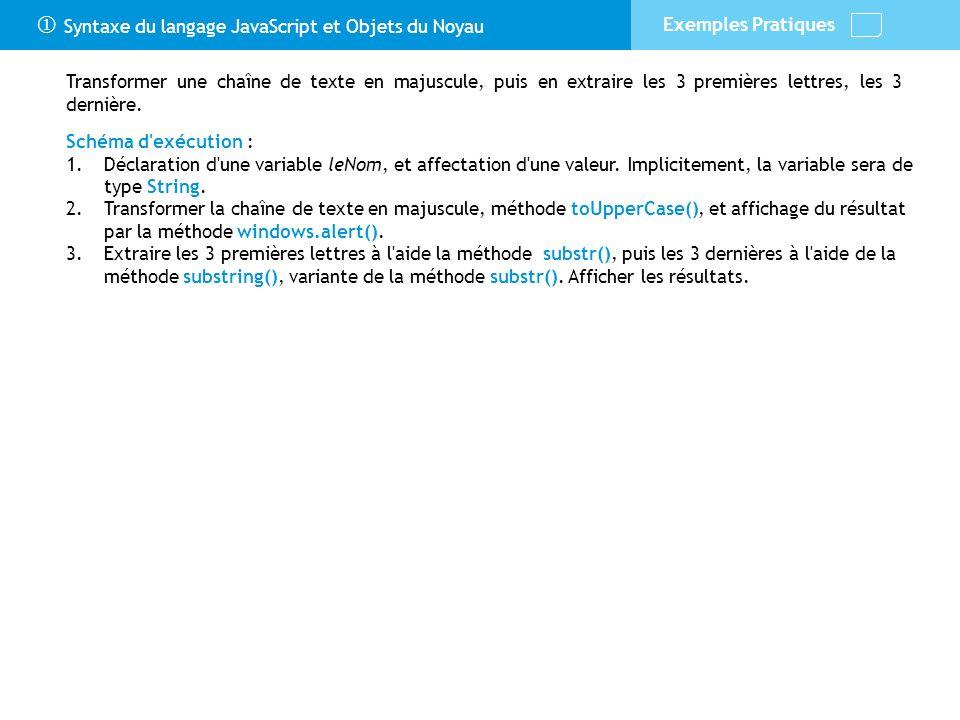 Syntaxe du langage JavaScript et Objets du Noyau Exemples Pratiques Schéma d'exécution : 1.Déclaration d'une variable leNom, et affectation d'une vale