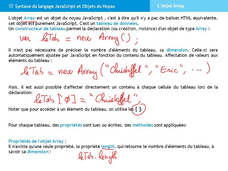 Syntaxe du langage JavaScript et Objets du Noyau L'objet Array L'objet Array est un objet du noyau JavaScript, c'est à dire qu'il n'y a pas de balises