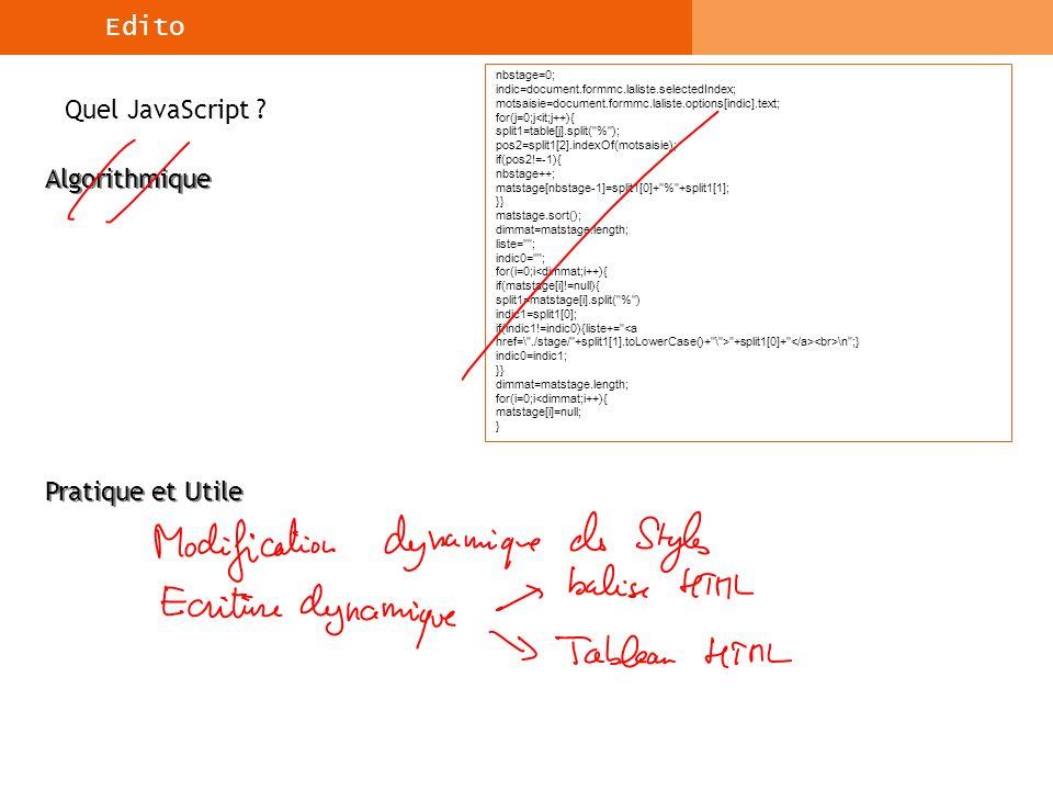 Syntaxe du langage JavaScript et Objets du Noyau L objet Date Méthodes de l objet de type Date en lecture : lecture du mois, etc…, le format est getNomMethode( ) Source : http://www.commentcamarche.net/JavaScript/jsdate.php3