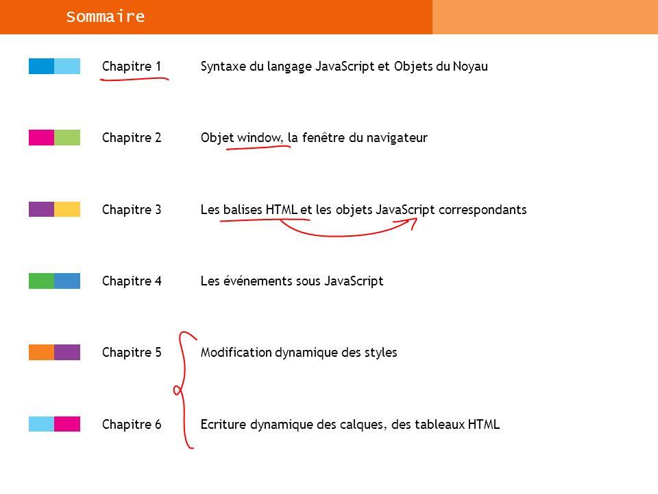 Syntaxe du langage JavaScript et Objets du Noyau Structure et Syntaxe Le code JavaScript est déclaré dans le document HTML par les balises HTML et : Le code est en général déclaré dans l entête du document, soit entre les balises ….