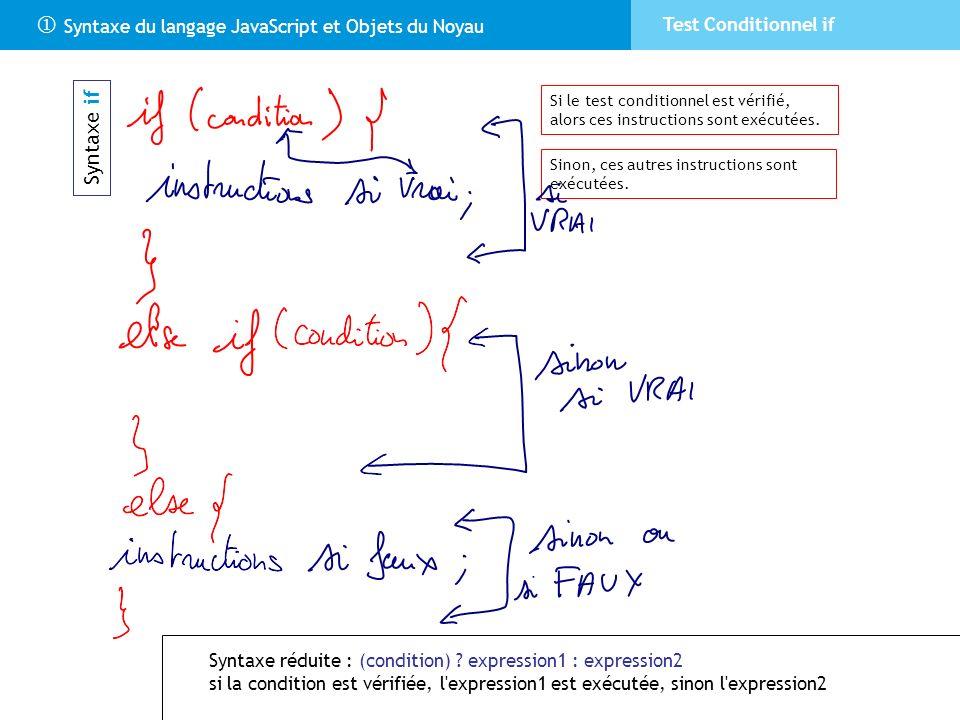 Syntaxe if Si le test conditionnel est vérifié, alors ces instructions sont exécutées. Sinon, ces autres instructions sont exécutées. Syntaxe réduite