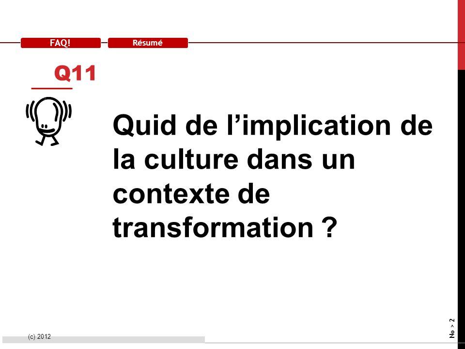 FAQ! Résumé Quid de limplication de la culture dans un contexte de transformation ? (c) 2012 No > 2 Q11