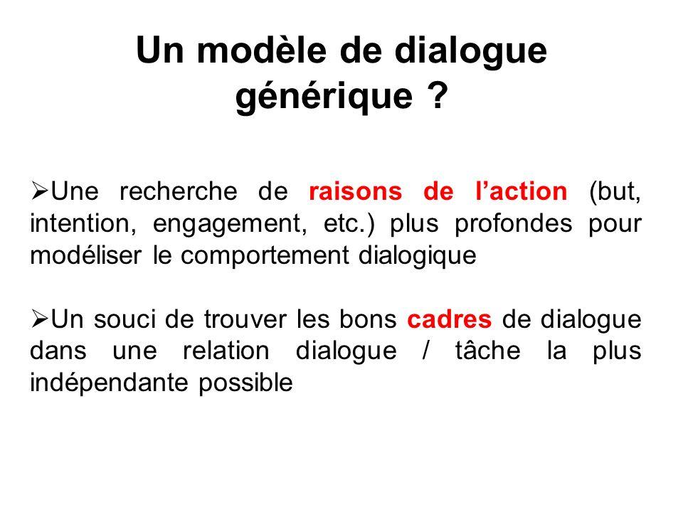 Un modèle de dialogue générique ? Une recherche de raisons de laction (but, intention, engagement, etc.) plus profondes pour modéliser le comportement