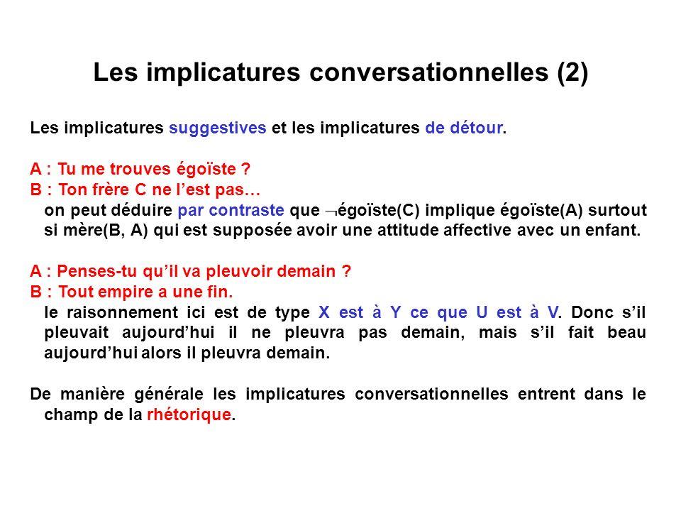 Les implicatures conversationnelles (2) Les implicatures suggestives et les implicatures de détour. A : Tu me trouves égoïste ? B : Ton frère C ne les
