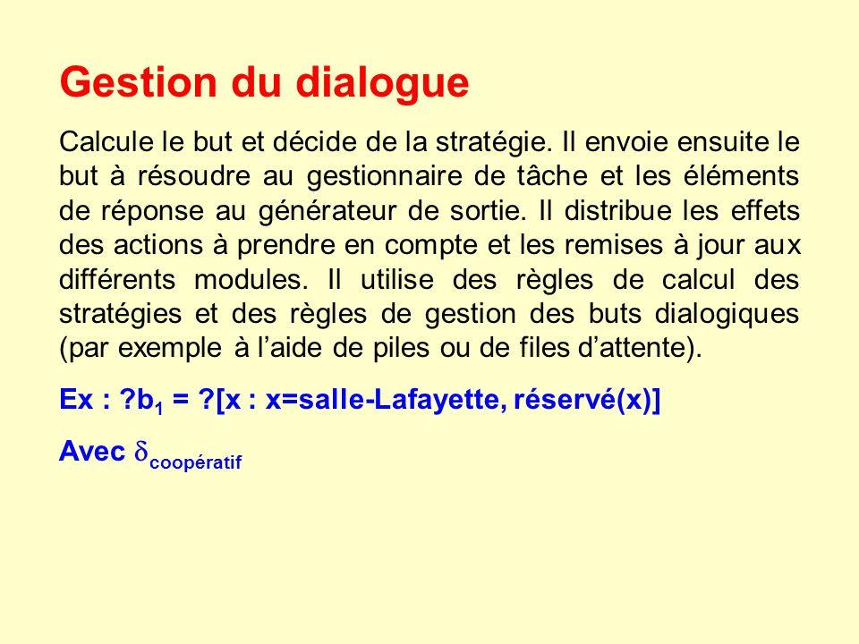 Gestion du dialogue Calcule le but et décide de la stratégie. Il envoie ensuite le but à résoudre au gestionnaire de tâche et les éléments de réponse
