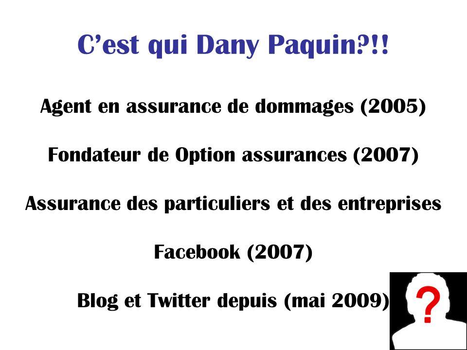 Cest qui Dany Paquin?!! Agent en assurance de dommages (2005) Fondateur de Option assurances (2007) Assurance des particuliers et des entreprises Face