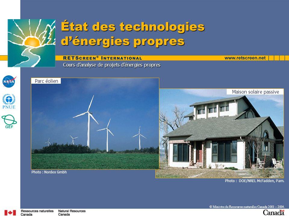 Parc éolien Maison solaire passive Photo : DOE/NREL McFadden, Pam. État des technologies dénergies propres © Ministre de Ressources naturelles Canada