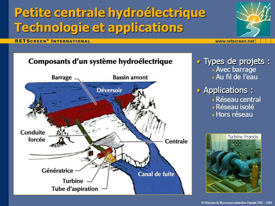 Petite centrale hydroélectrique Technologie et applications Types de projets :Types de projets : Avec barrage Au fil de leau Applications :Application