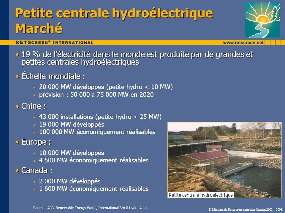 Petite centrale hydroélectrique Marché 19 % de lélectricité dans le monde est produite par de grandes et petites centrales hydroélectriques19 % de lél