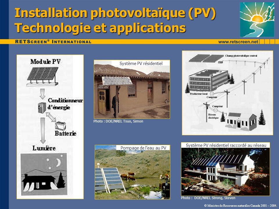 Installation photovoltaïque (PV) Technologie et applications Photo : DOE/NREL Tsuo, Simon Photo : DOE/NREL Strong, Steven Système PV résidentiel Pompa