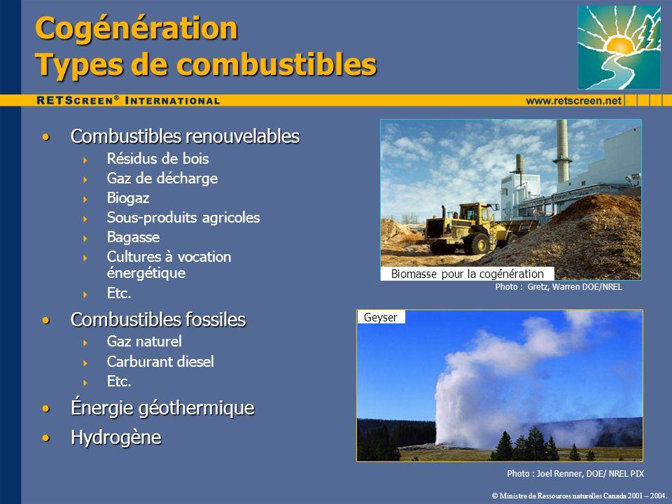 Cogénération Types de combustibles Combustibles renouvelablesCombustibles renouvelables Résidus de bois Gaz de décharge Biogaz Sous-produits agricoles
