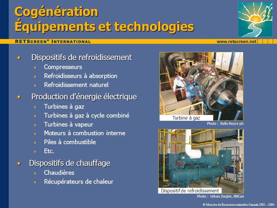 Dispositifs de refroidissement Dispositifs de refroidissement Compresseurs Refroidisseurs à absorption Refroidissement naturel Production d'énergie él