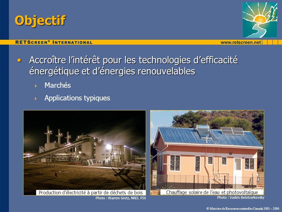 Objectif Accroître lintérêt pour les technologies defficacité énergétique et dénergies renouvelablesAccroître lintérêt pour les technologies defficaci