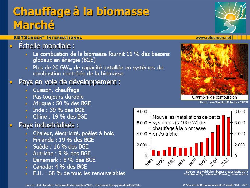 Échelle mondiale :Échelle mondiale : La combustion de la biomasse fournit 11 % des besoins globaux en énergie (BGE) Plus de 20 GW th de capacité insta