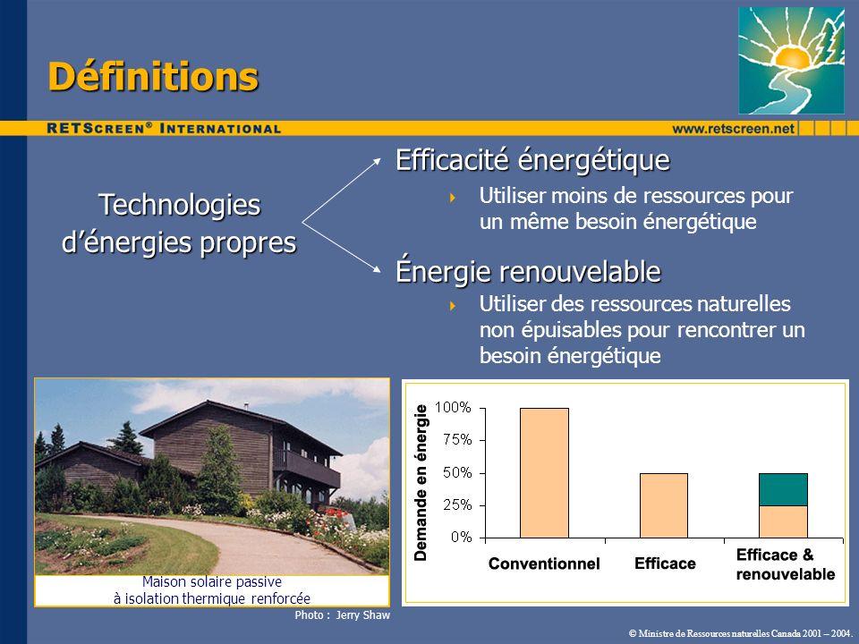 Efficacité énergétique Utiliser moins de ressources pour un même besoin énergétique Énergie renouvelable Utiliser des ressources naturelles non épuisa