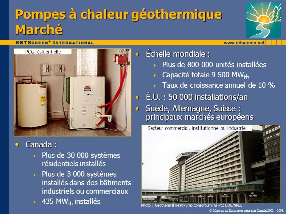 Pompes à chaleur géothermique Marché Secteur commercial, institutionnel ou industriel Photo : Geothermal Heat Pump Consortium (GHPC) DOE/NREL PCG rési