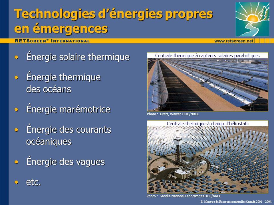 Technologies dénergies propres en émergences Énergie solaire thermiqueÉnergie solaire thermique Énergie thermique des océansÉnergie thermique des océa