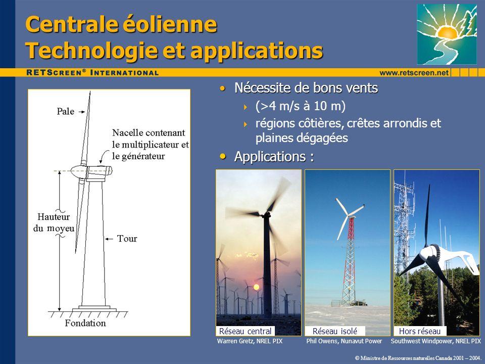 Centrale éolienne Technologie et applications Nécessite de bons ventsNécessite de bons vents (>4 m/s à 10 m) régions côtières, crêtes arrondis et plai