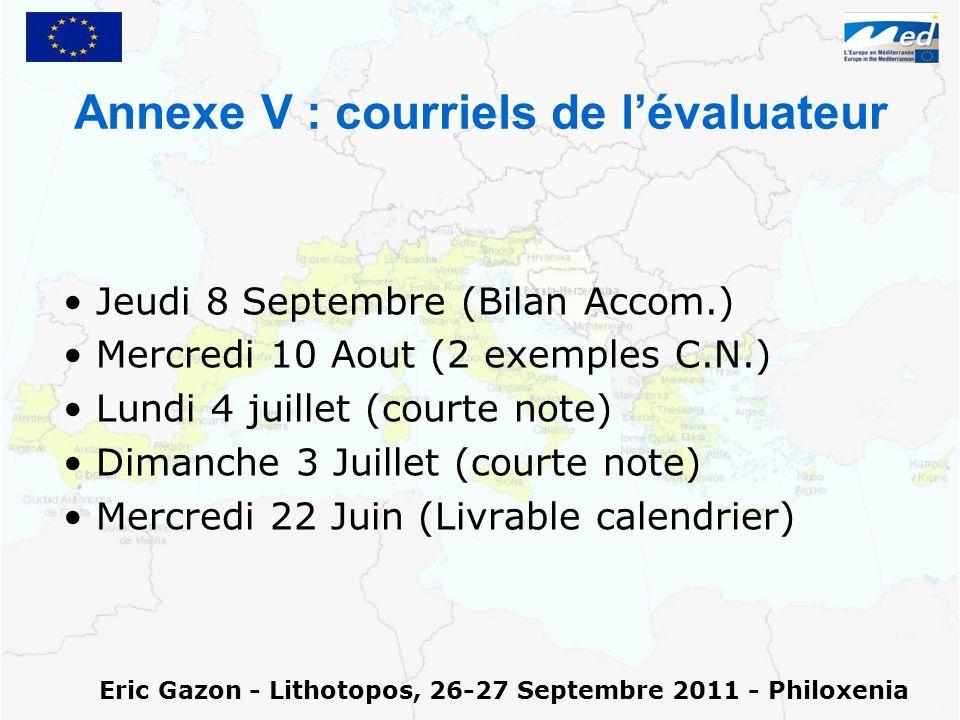 Annexe V : courriels de lévaluateur Jeudi 8 Septembre (Bilan Accom.) Mercredi 10 Aout (2 exemples C.N.) Lundi 4 juillet (courte note) Dimanche 3 Juill